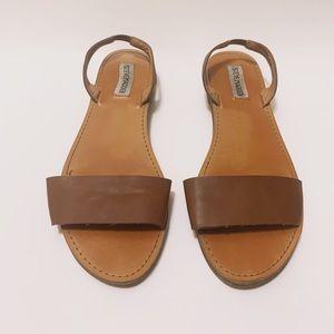 Steve Madden Cognac Leather Slide Sandals